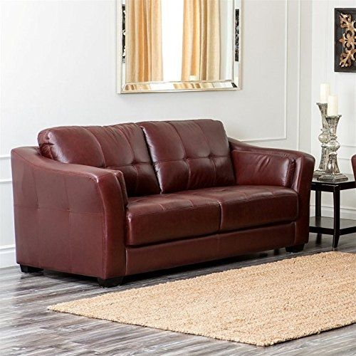 Abbyson Living Florentine Top Grain Leather Sofa in Burgundy