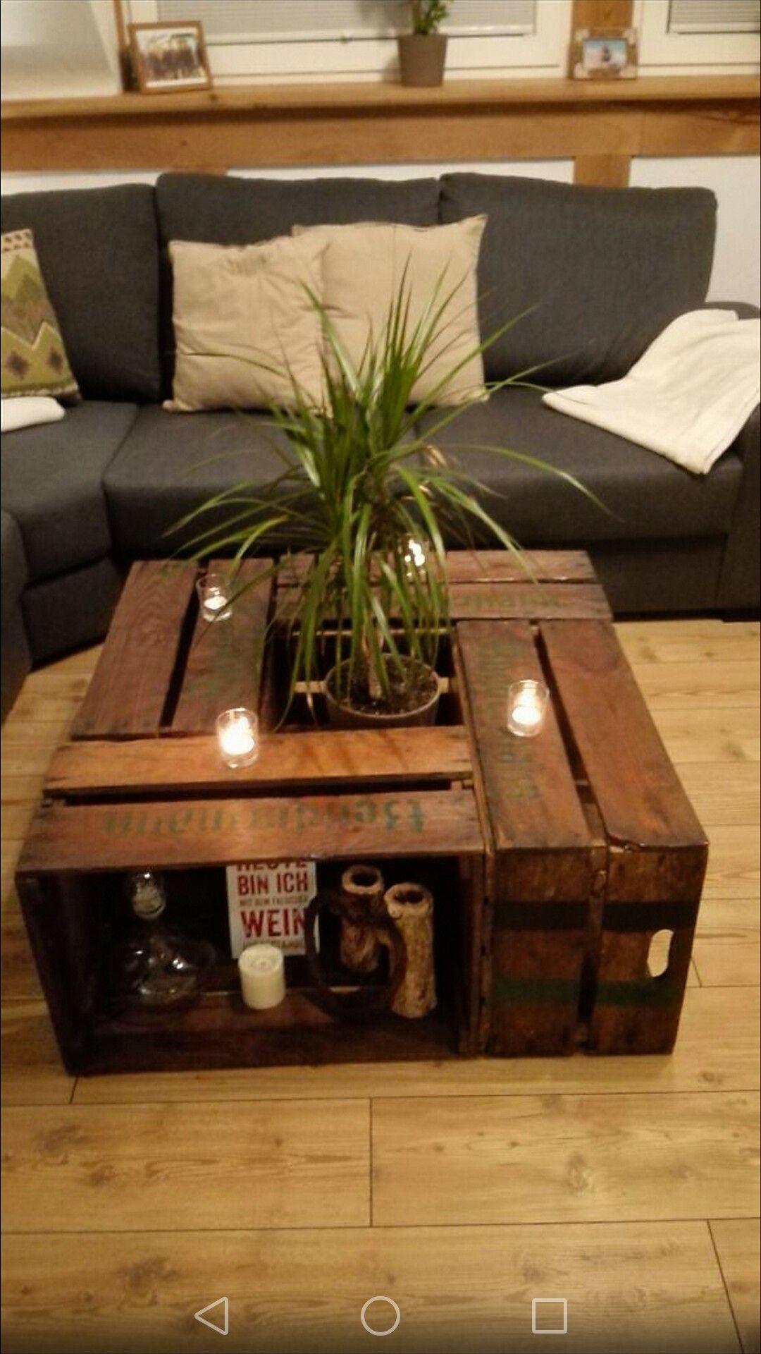 Couchtisch Wohnzimmertisch Aus Obstkisten Diy Furniture