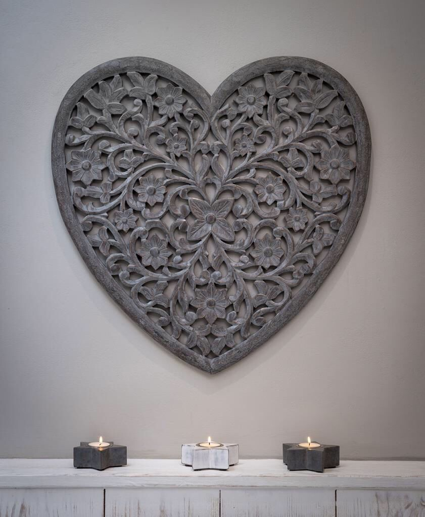 Grey Wooden Heart Panel Extra Large Hand Carved Heart Wall Carved Heart Wooden Hearts