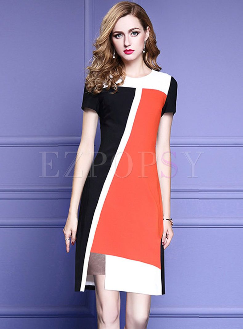 fcc87f7b8579 Shop for high quality Work Hit Color Stitching Slit Bodycon Dress online at  cheap prices and discover fashion at Ezpopsy.com