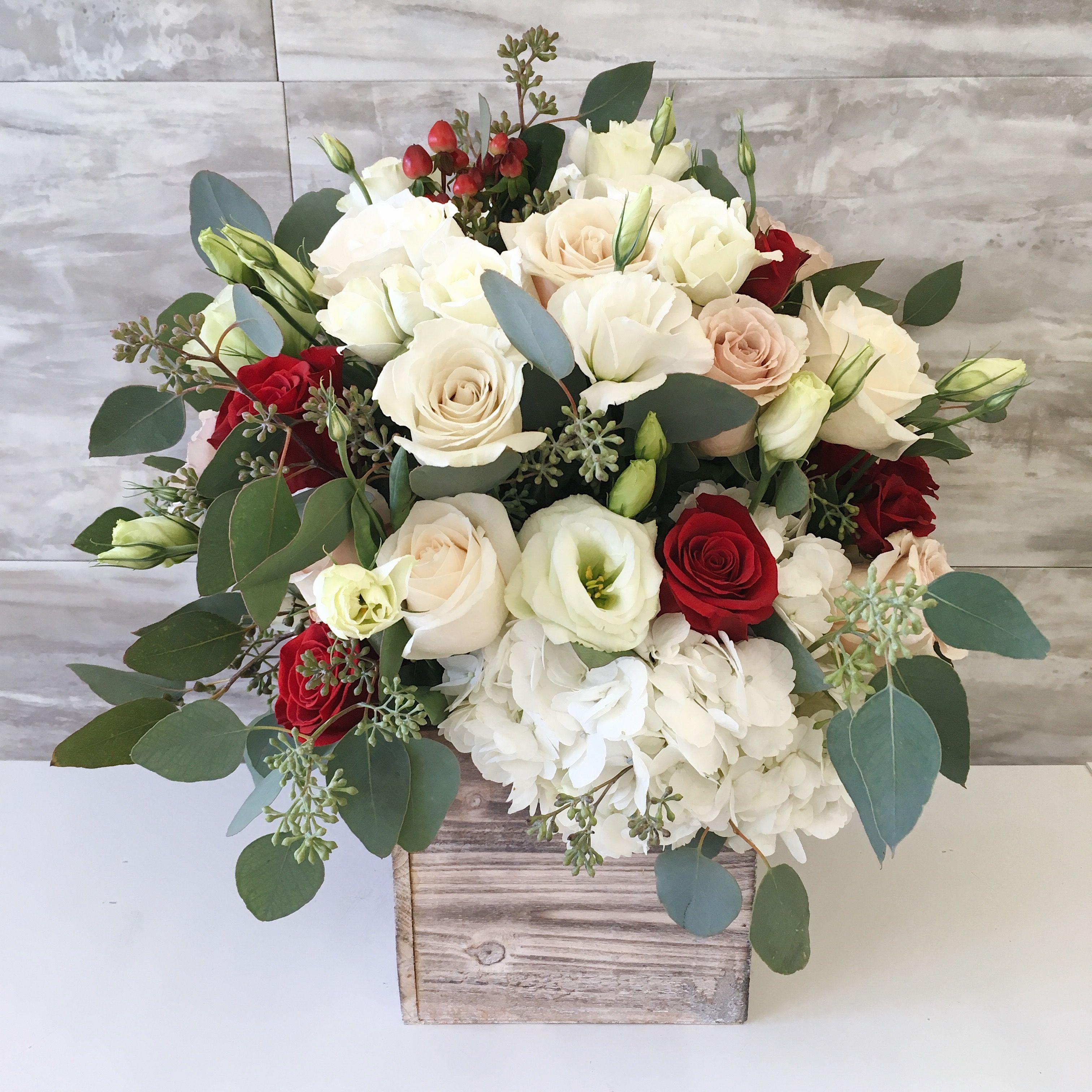 Wood Box Flower Arrangement Everyday Flowers From Kk Flowers
