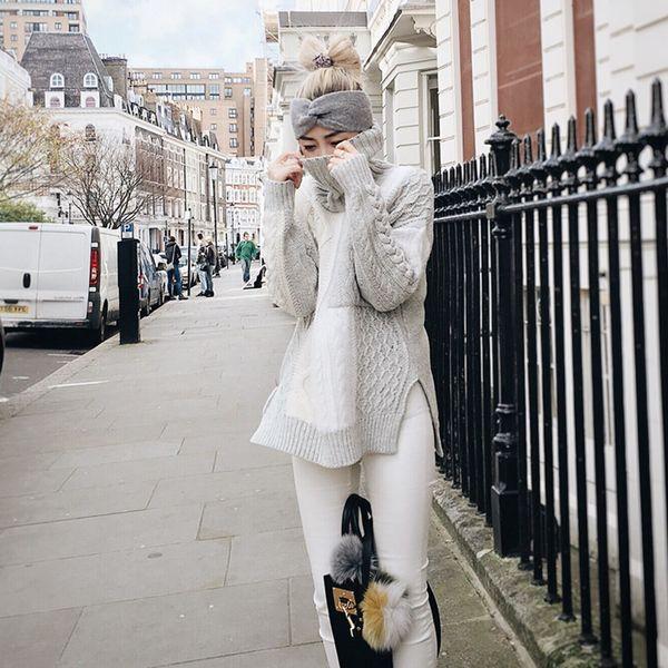 CIAO!俏 2016春季新品 进口羊仔毛高领毛衣女 欧美套头修身毛线衣