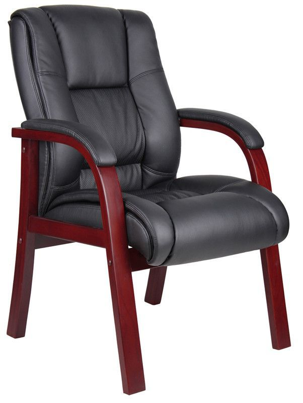 Boss Office Products B8999 M Boss Mid Back Wood Finished Guest Chairs Guest Chair Office Guest Chairs Waiting Room Chairs