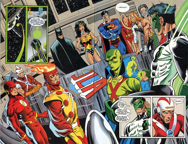 Firestorm and the JLA in Green Lantern: Circle of Fire by Brian K. Vaughan and Norm Breyfogle