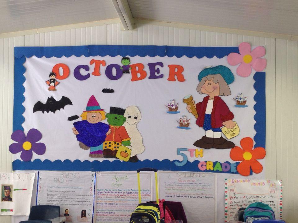 Peri dico mural octubre en pell n carteles para decorar for Ideas para decorar marcos de puertas