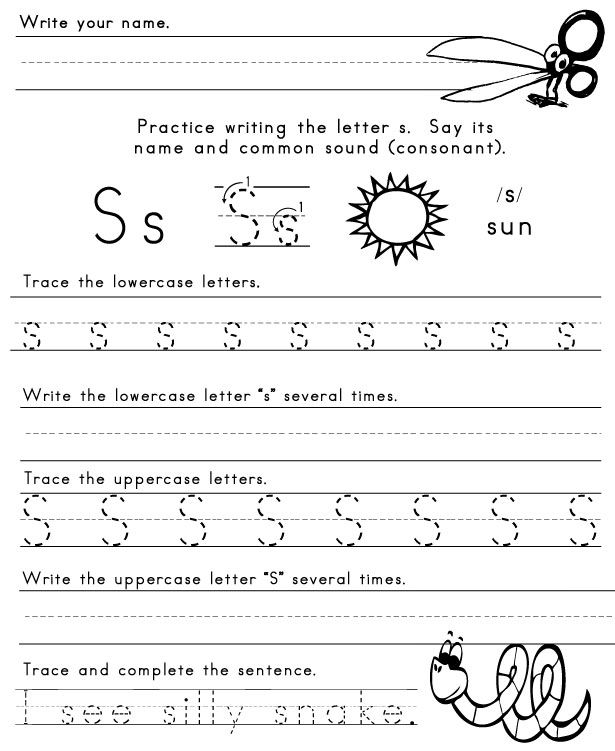 LettersWorksheet1 Letters of the Alphabet – Letter S Worksheets