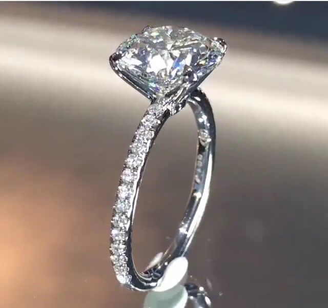 3 Carat Round Brilliant Solitare In A Four Prong Claw Setting With Micropave Dream Engagement RingsEngagement