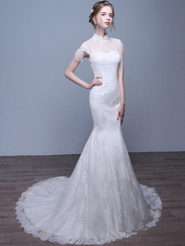 5d690f7a5 Custom Made White Lace Train Qipao / Cheongsam Wedding Gown | Qi P ...
