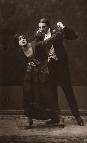 Postcard of Couple Dancing the Eighteenth Step of the Tango. Corbis Images.