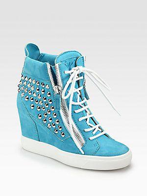8c016e439540 Giuseppe Zanotti Spike Suede Wedge Sneakers