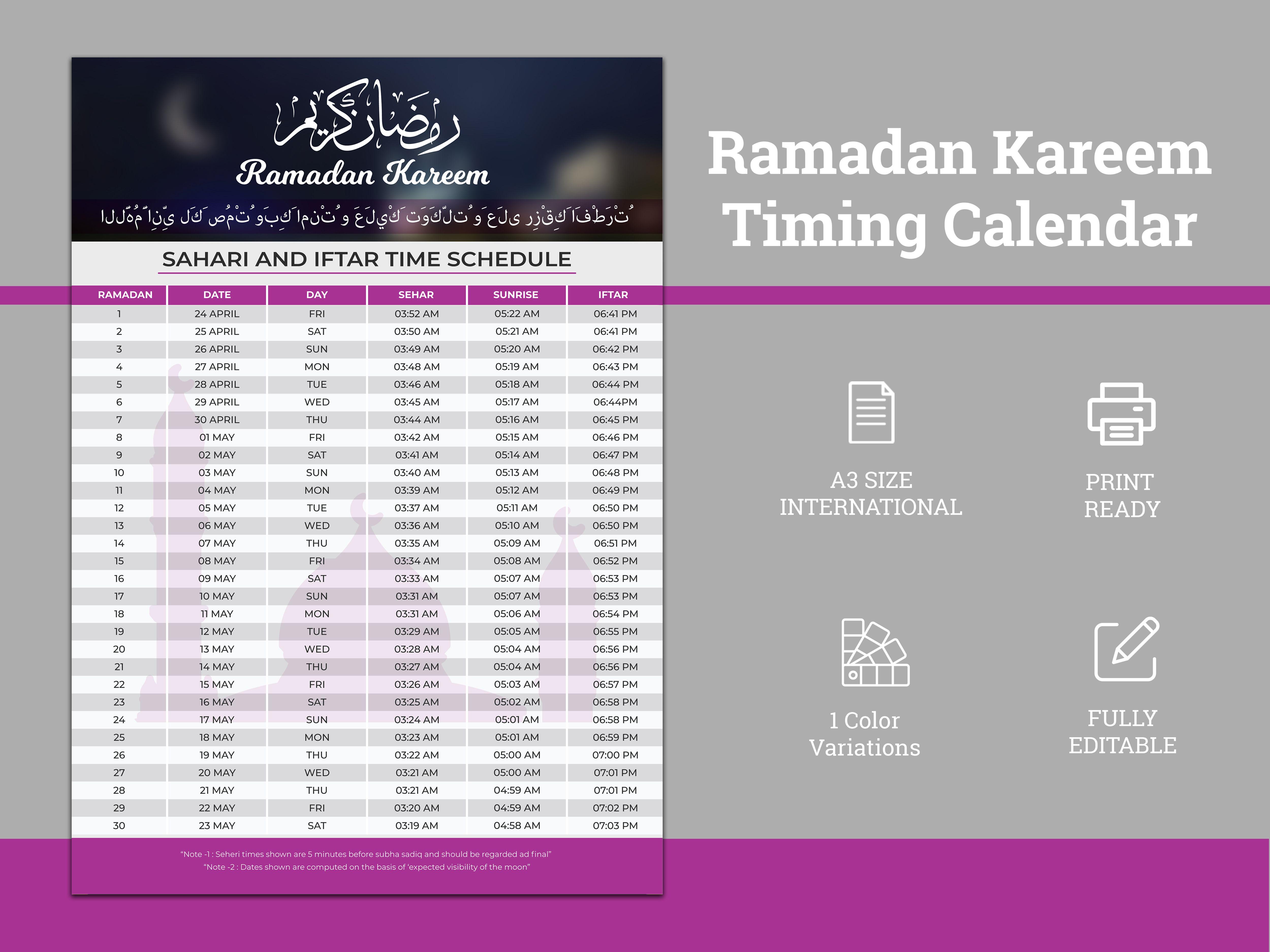 Ramadan Kareem Timing 2021 Calendar, Iftar & Sheri,Iftar ...