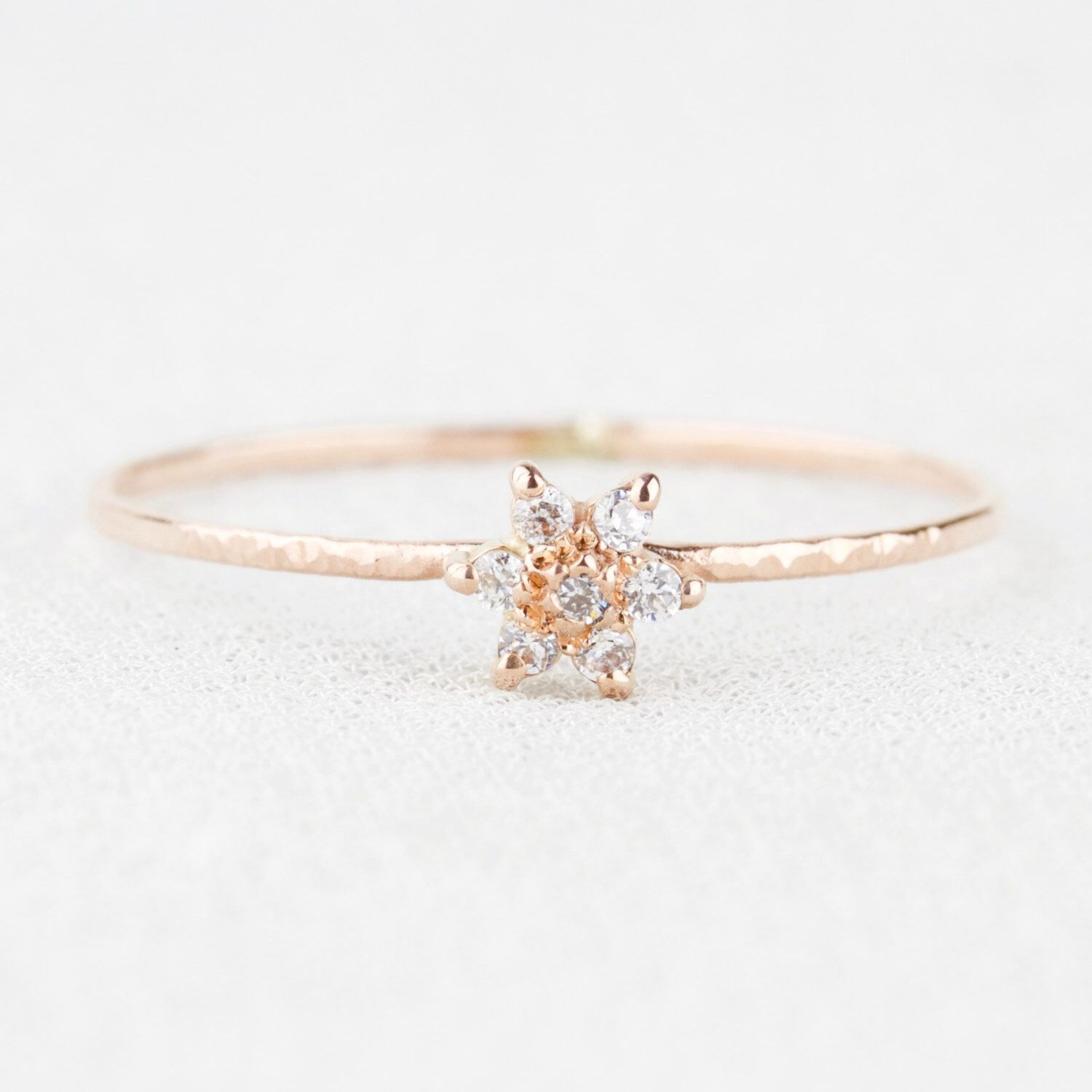 White Diamond Wood Anemone Flower Ring Delicate Solid 14k Gold