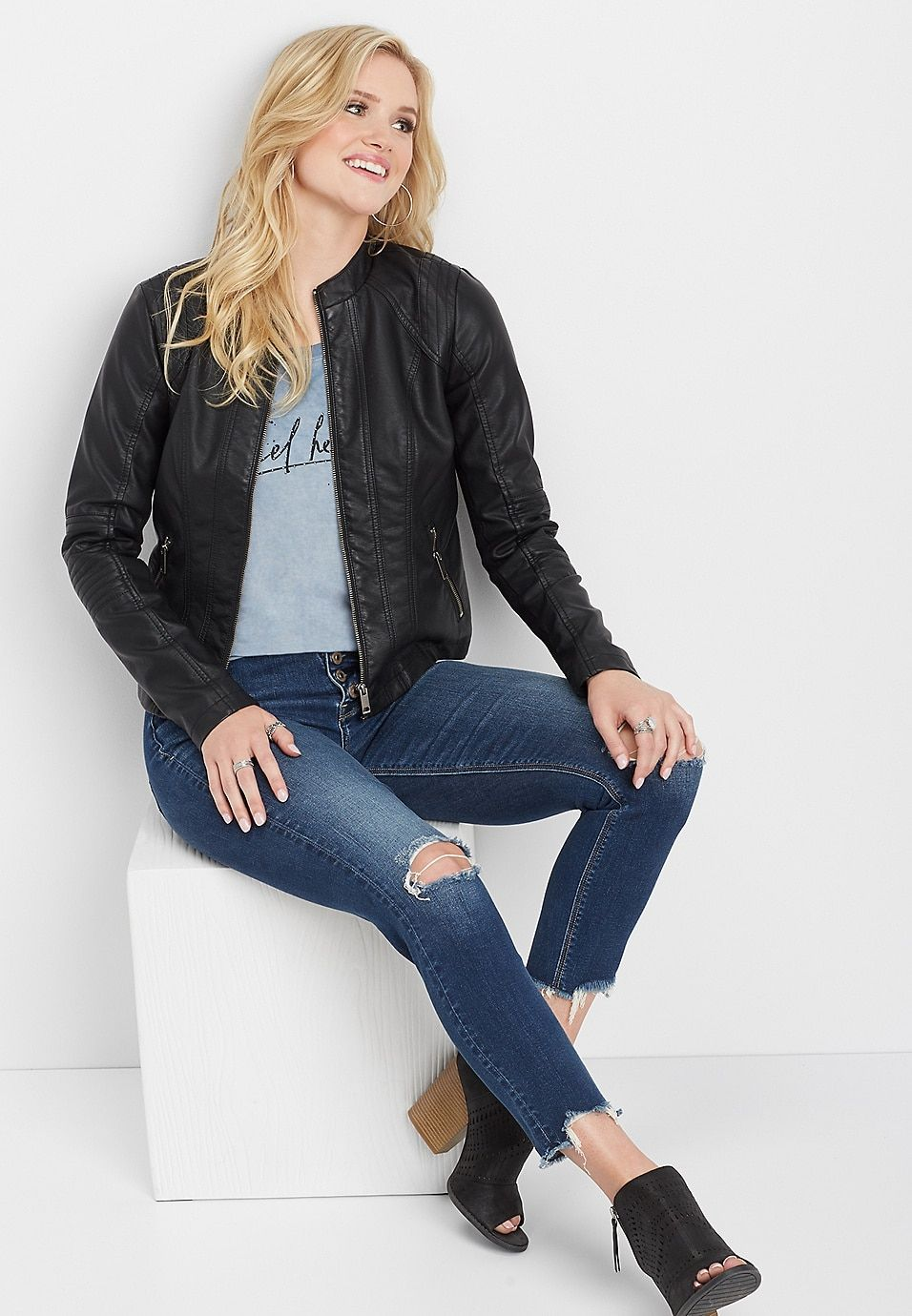 dc1b6ff1d05 Elbow stitched faux leather jacket