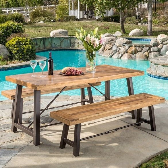 Outdoor Dining Set Rustic Patio Furniture Wood 3 Piece Picnic Table Chair  Acacia: $497.55 End Date: Saturday Oct 6 2018 11:35:29 PDT Buy Itu2026