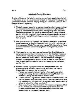 Macbeth Essay Questions | Pinterest