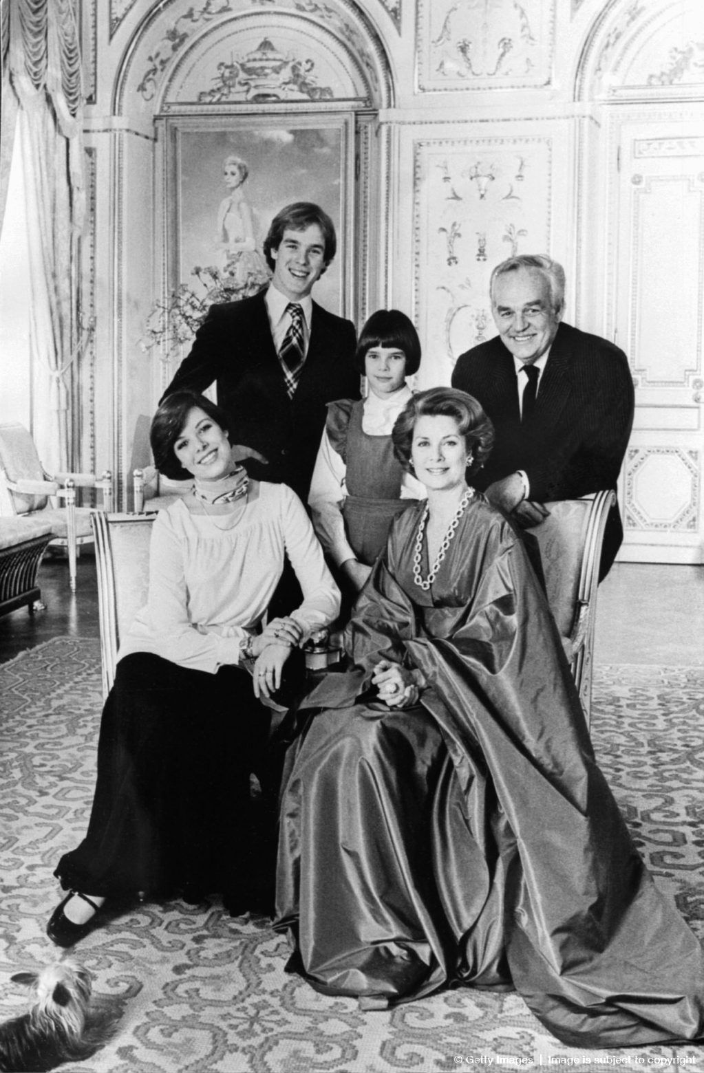 Prince Rainier III Of Monaco His Wife Princess Grace And Their Children Albert Princes Caroline Stephanie Pose For A Family Picture 26