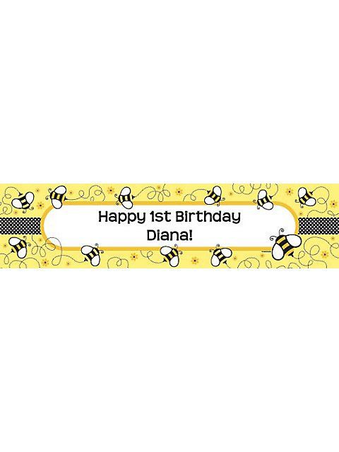 Bumble Bee Personalized Banner - Personalized Custom Banners & Party Supplies