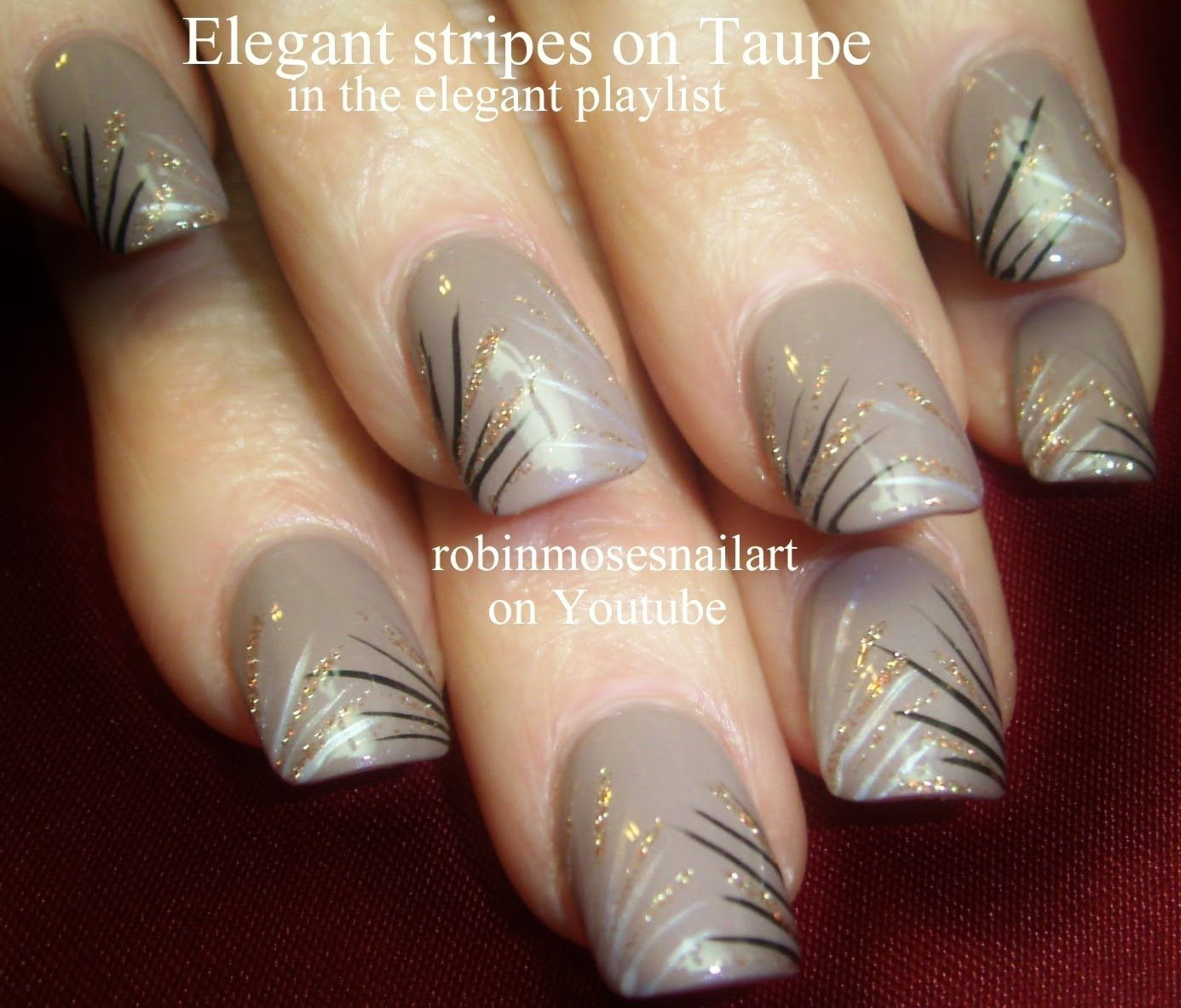 Nail Art | DIY Easy Nail Art For Beginners!!! | Taupe Stripes with ...