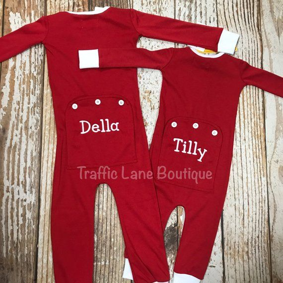 Baby s Monogram One-Piece Holly Jolly Pajamas with a Flap Butt for Girls  and Boys 326f8b897