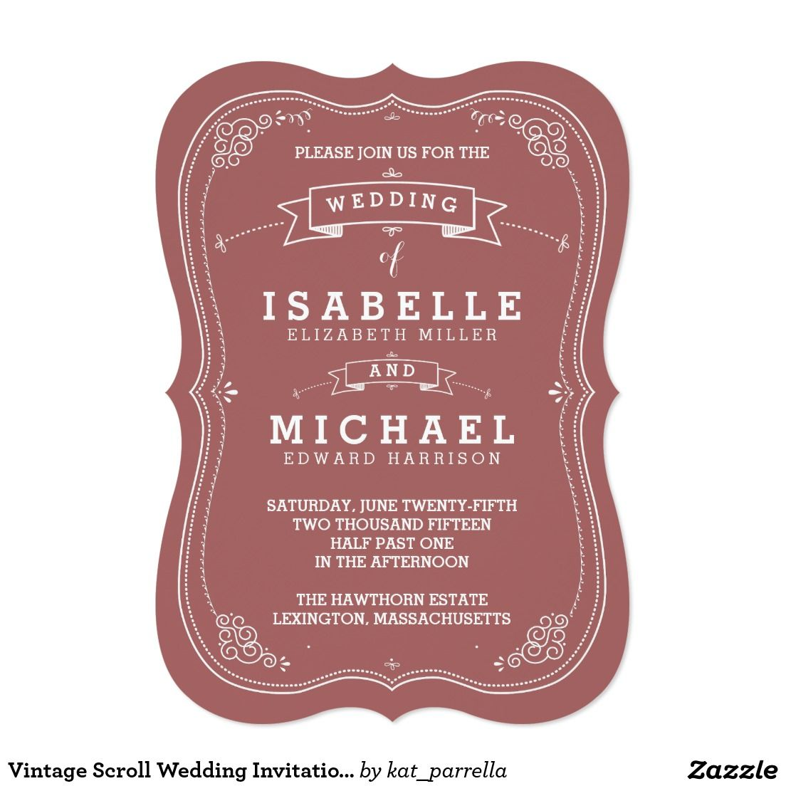 Vintage Scroll Wedding Invitation | Marsala | Scroll wedding ...