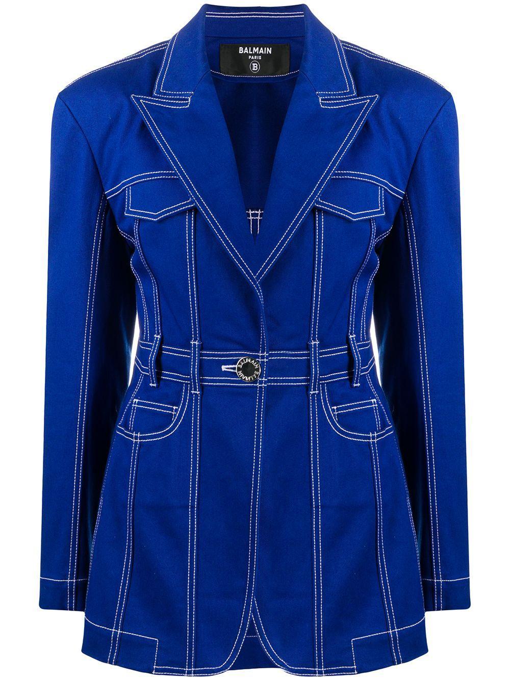 Balmain oversized denim blazer - Blue