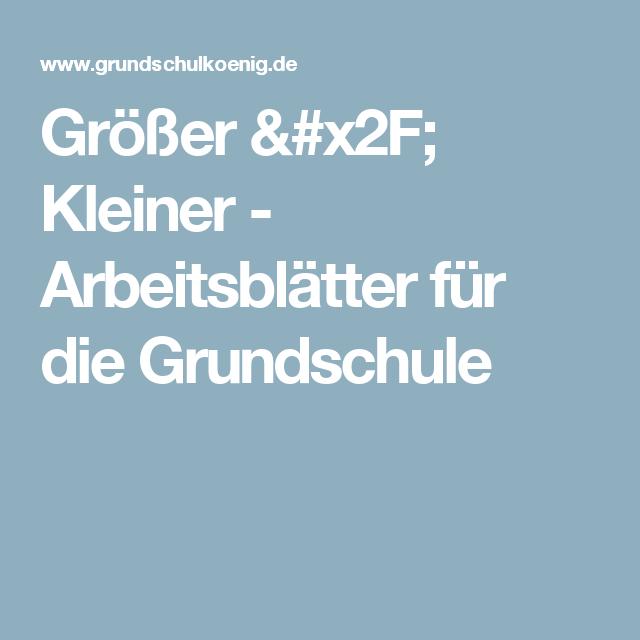 Größer / Kleiner - Arbeitsblätter für die Grundschule | Schule ...