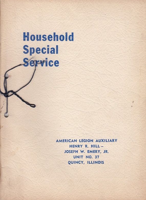 1942 Quincy IL American Legion Auxiliary Household Special Service Booklet