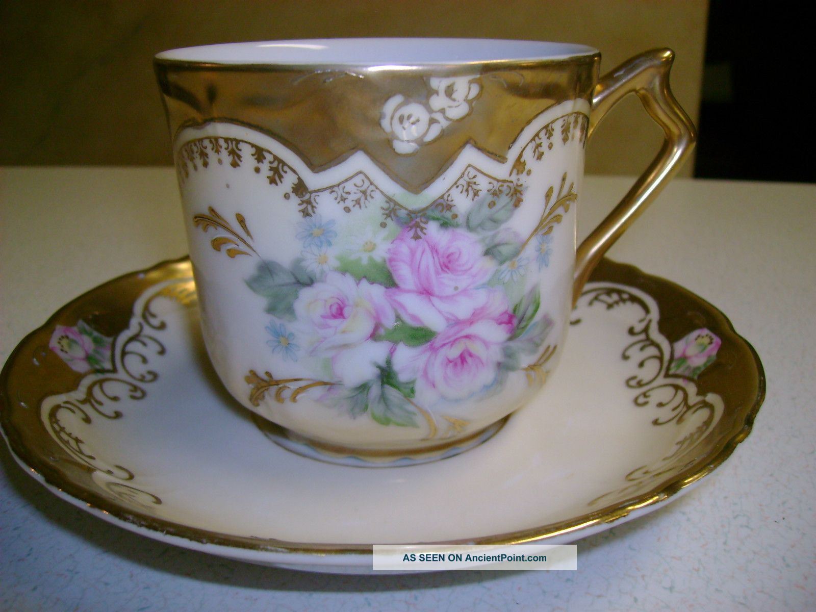 Vintage Royal Crown Mustache Cup & Saucer Hand Painted 33/357 Cups & Saucers photo