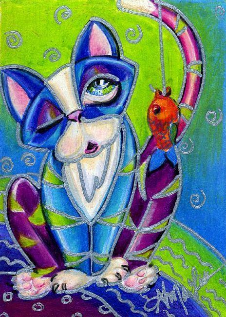 Art: Fishing Kitty by Artist Alma Lee
