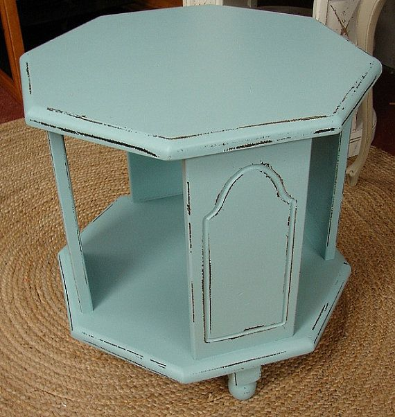 Vintage Reclaimed Covington Blue Painted Cottage Shabby Chic Accent Side Library Table  (Ships FED EX) via Etsy