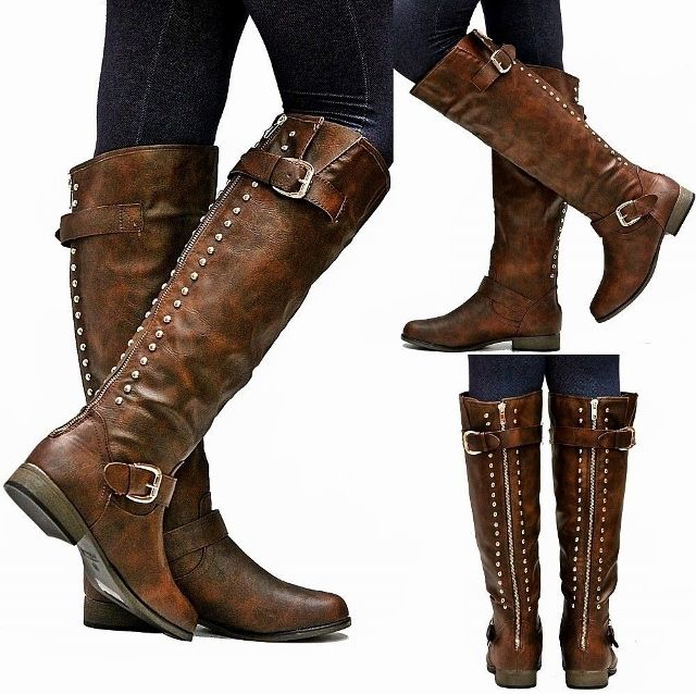 COWGIRL STYLE BOOTS Studded Buckle Accent Back Zipper Leather ...