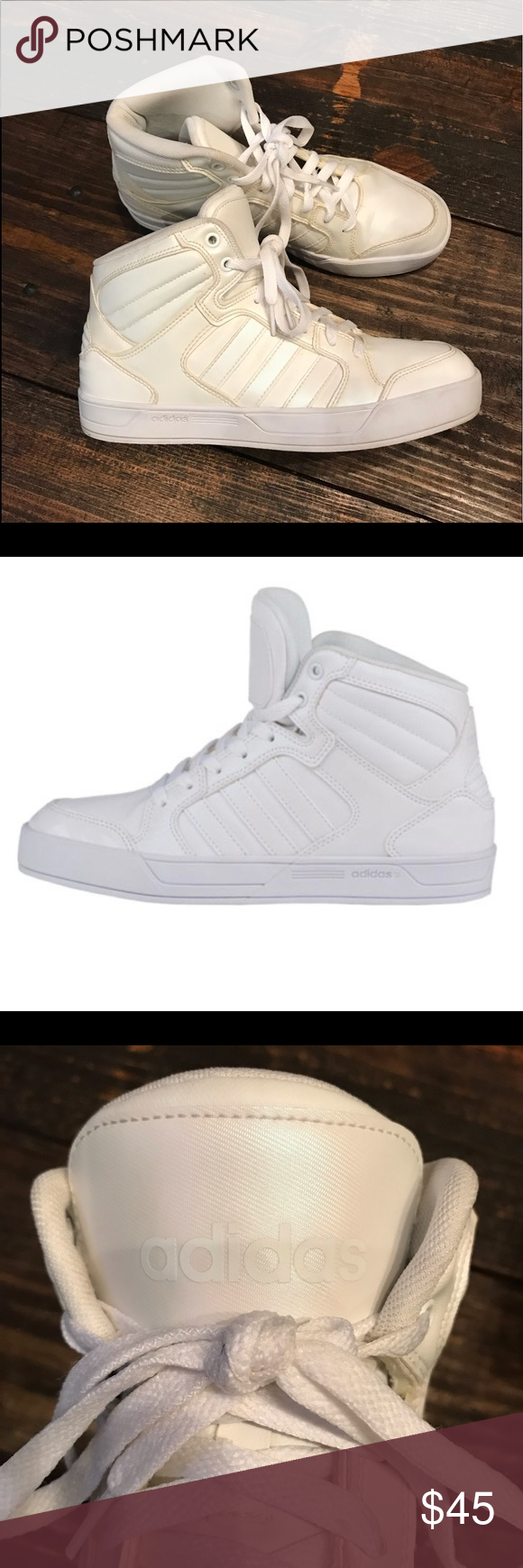 White Adidas High Tops In great used condition, well taken