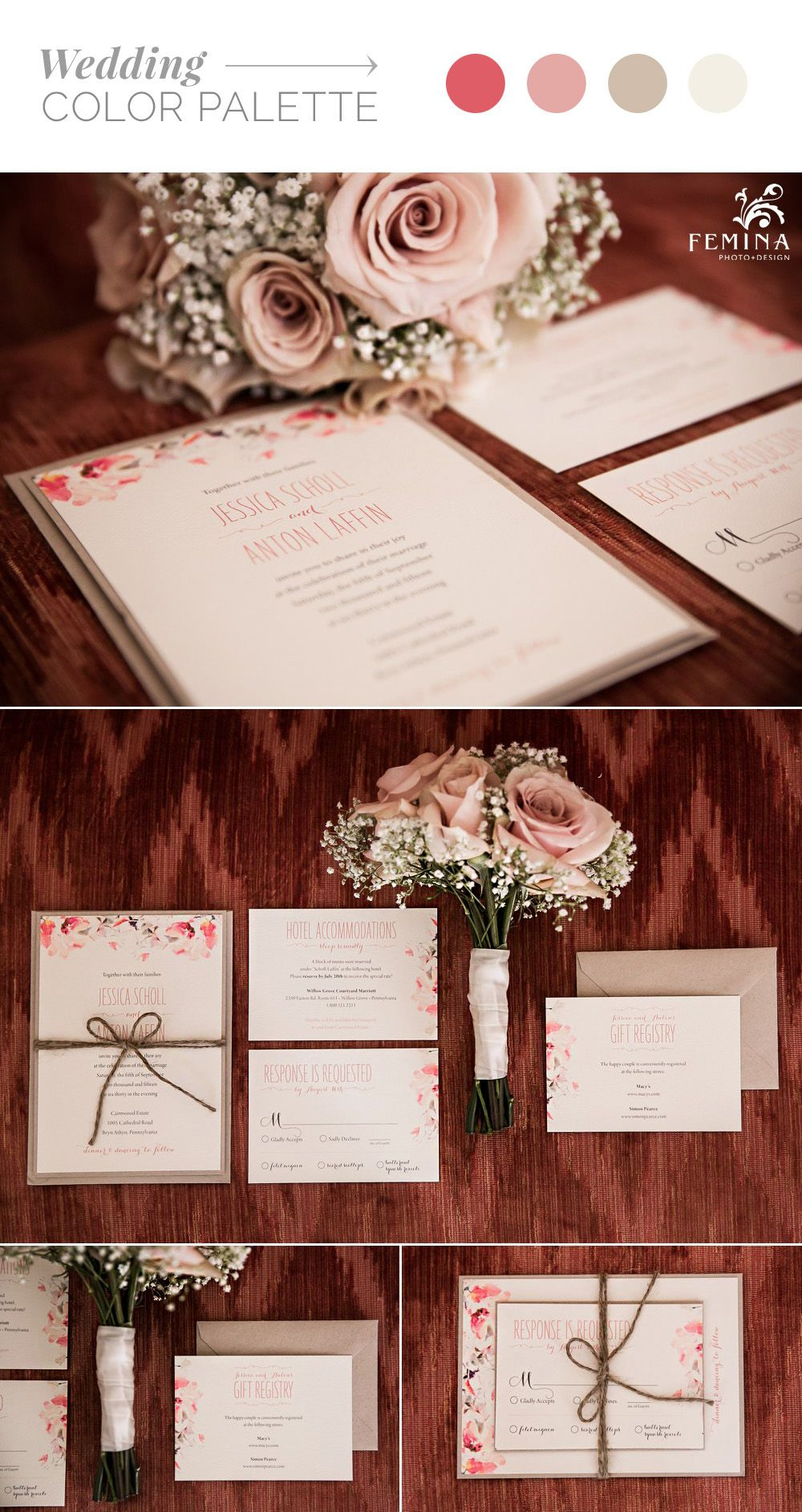 Rose, blush, tan and ivory watercolor wedding invitations finished ...