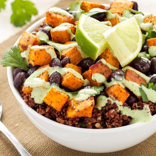 • ✨Sweet Potato and Black Bean Quinoa Bowl✨ Credit: spoonfulofflavor.com --- Ingredients- Roasted Sweet Potato: 1 large sweet potato, peel and diced 1 teaspoon extra virgin olive oil 1/2 teaspoon chili powder 1/4 teaspoon cumin 1/4 teaspoon kosher salt Quinoa: 3/4 cup red quinoa 1 3/4 cups water 1/2 teaspoon kosher salt, divided 1/2 teaspoon chili powder 1/2 teaspoon cumin 1/4 teaspoon garlic powder Juice of half a lime 2 tablespoon cilantro, chopped Cilantro Cream Drizzle: 1/4 cup plain non…