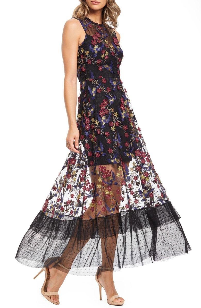 480a0b409ca4d Free shipping and returns on Dress the Population Gina Lace Embroidered  Evening Dress at Nordstrom.com. Designed with a whimsical attitude, ...