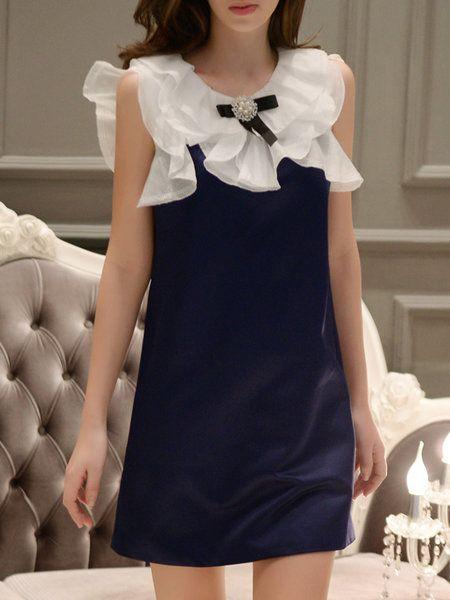 Shop Mini Dresses - Navy Blue Bow Plain Sleeveless Mini Dress online. Discover unique designers fashion at StyleWe.com.