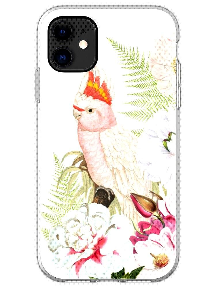 Pink cockatoo in floral jungle with fern leaves and peonies and tropical flowers. Antique illustrat