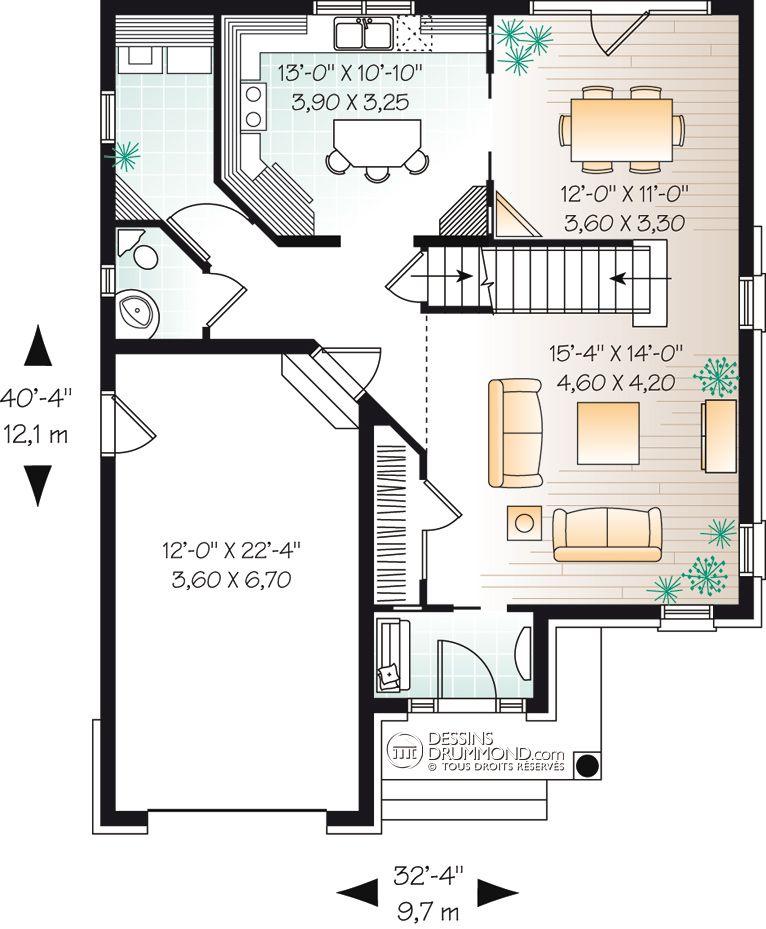 house_plan_maison_etage_2_stories_RDC_W3852 maison Pinterest House