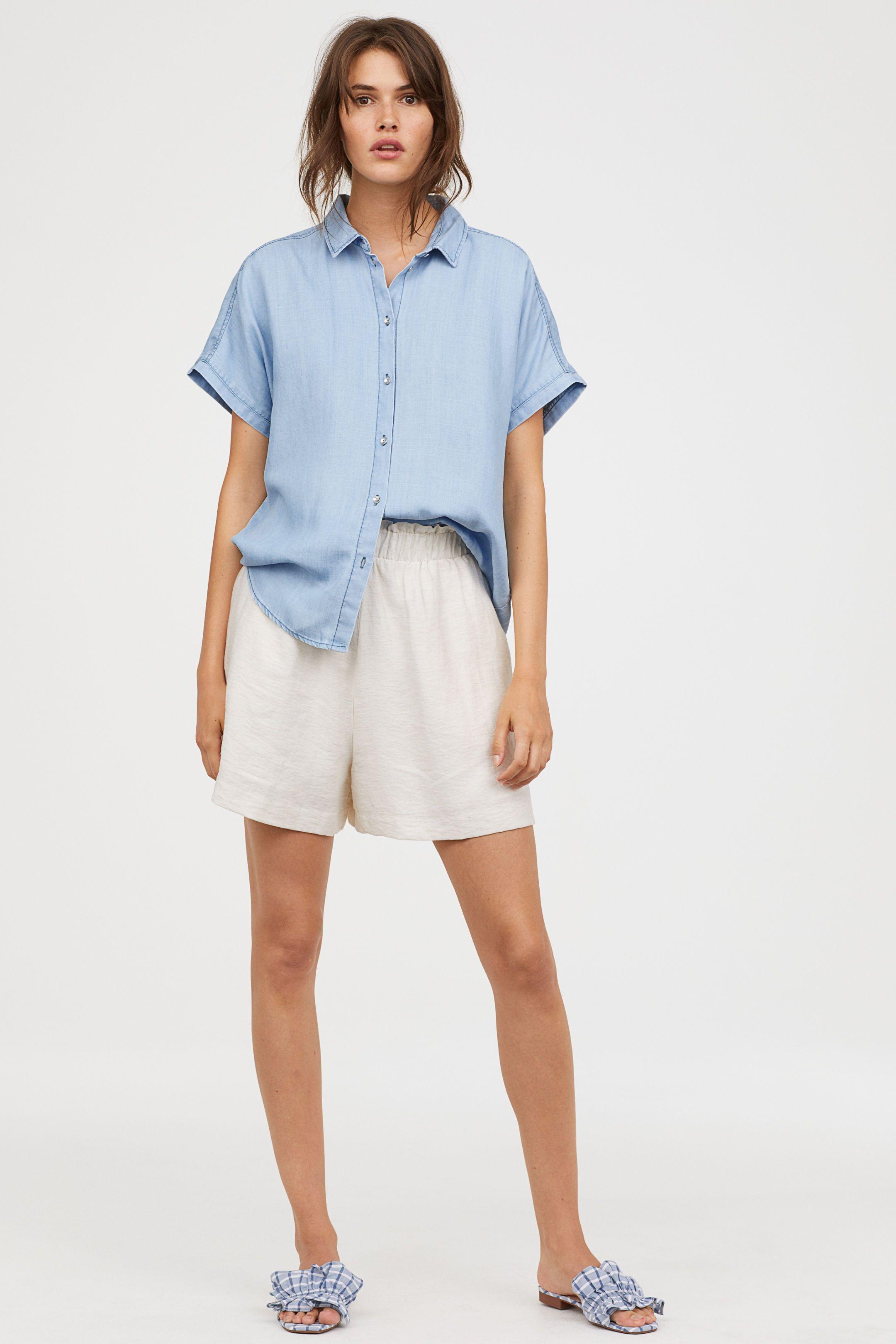 f15896c19761 Lyocell Denim Shirt   Want   Denim shirt, Shirt blouses, Light denim