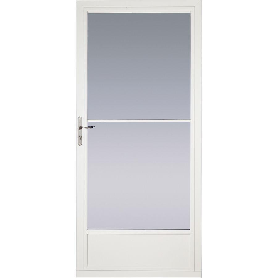 Pella White Mid View Aluminum Storm Door Common 36 In X 81 In Actual 35 75 In X 79 875 In Lowes Com Aluminum Storm Doors Storm Door Pella