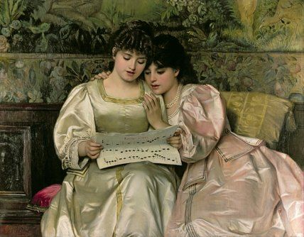 Two Girls Singing by Giovanni Costa (1826-1903, Italy)