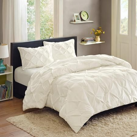 Better Homes Gardens Full Pintucked Comforter Set 3 Piece Walmart Com Bed Comforters Pintuck Bedding Home