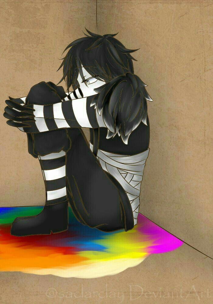 Laughing Jack, color, monochrome, sad
