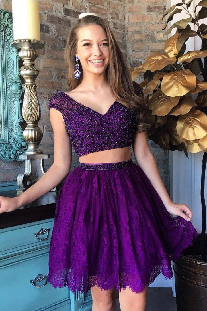 Purple beaded bodice cap sleeves homecoming dressestwo piece lace