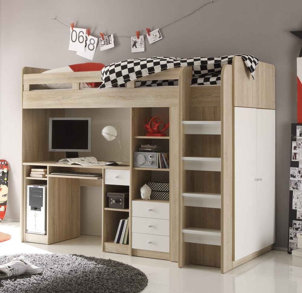 jugendzimmer unit hochbett mit kleiderschrank 90x200 eiche sonoma wei hochbetten g nstig. Black Bedroom Furniture Sets. Home Design Ideas
