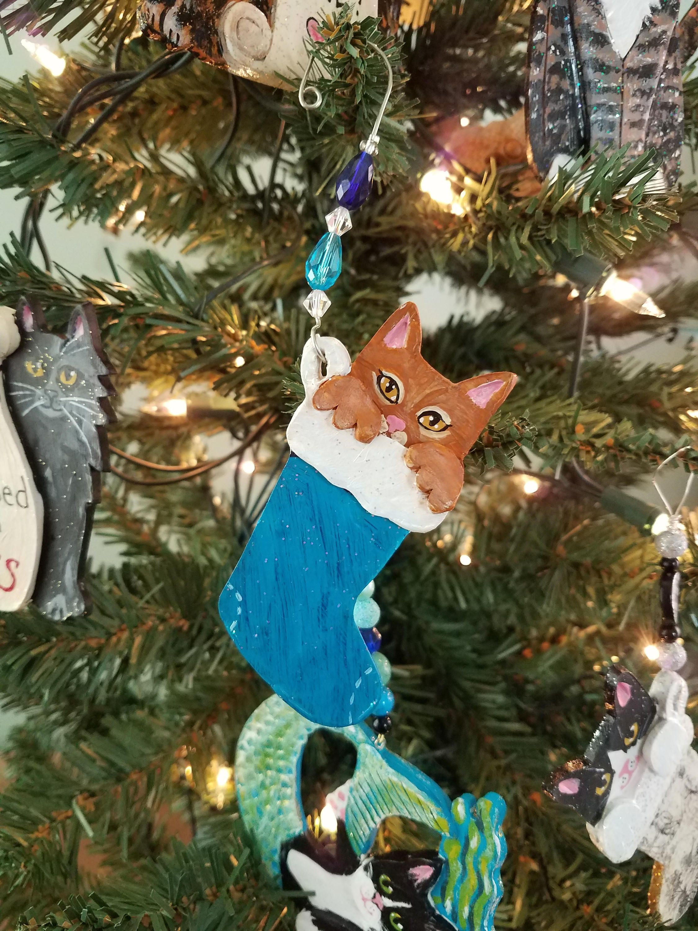 Personalized cat christmas ornaments - Cat Ornament Cat Christmas Ornament Orange Cat Cat Stocking Ornament Cat Lover