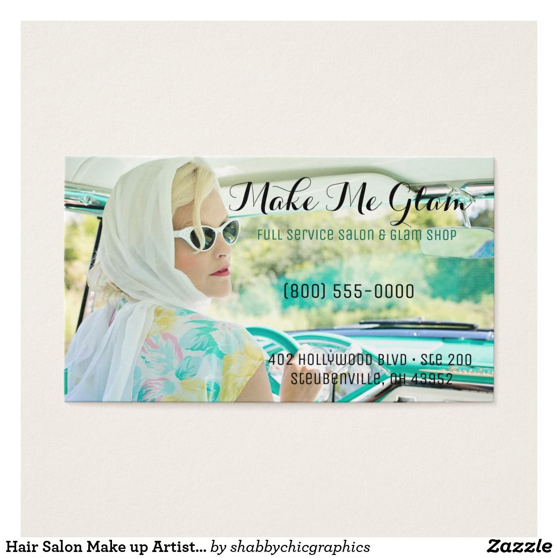 Hair Salon Make up Artist Glamorous Business Card | My business ...