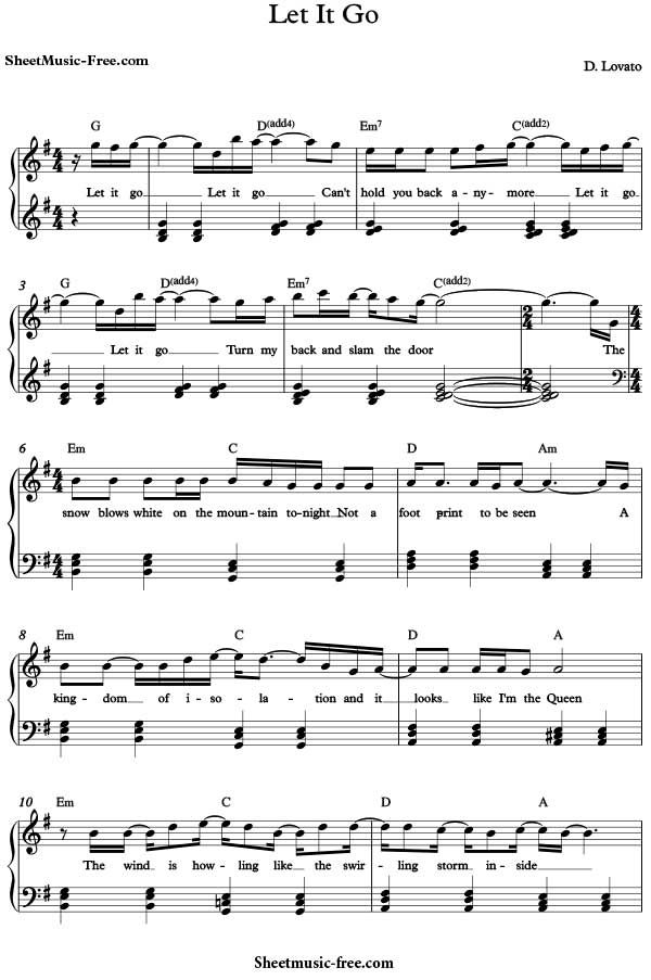 Let It Go Sheet Music Demi Lovato Download Let It Go Piano Sheet ...