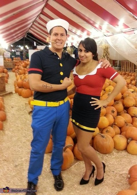Popeye and olive oil halloween costume contest at costume works popeye and olive oil diy couple halloween costume idea solutioingenieria Image collections