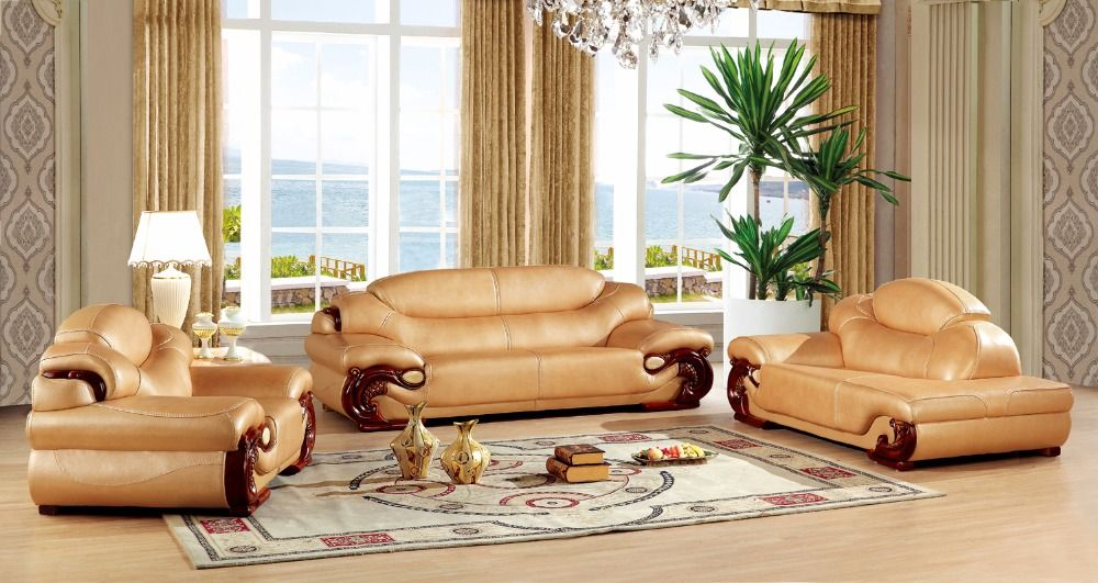 European Leather Sofa Set Living Room Sofa China Wooden Frame Sectional Sofa 1 3 Chaise Living Room Design Decor Furniture Design Living Room Sofa Design